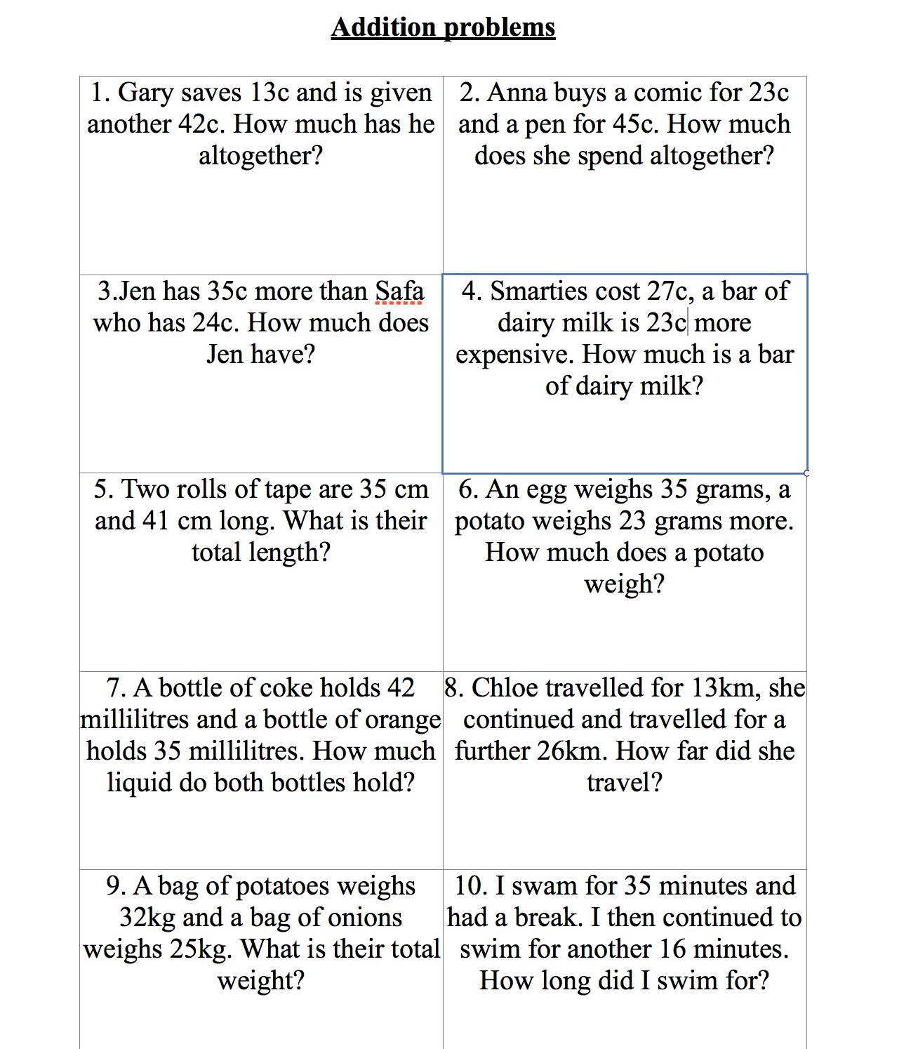 Collections of Addition Word Problems Grade 5, - Valentine ...